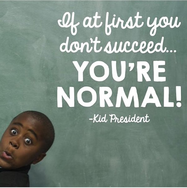 A picture of Kid President in front of a green chalk board with a common quote from his podcast.