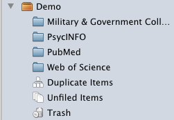 Image of folder structure in Zotero