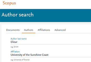 Screenshot of Scopus author search