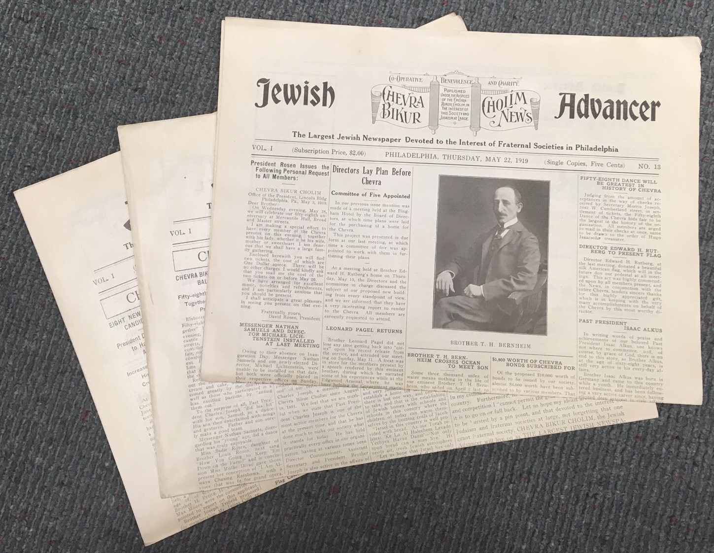 The front page of 3 issues of newspaper, Jewish Advancer from 1919