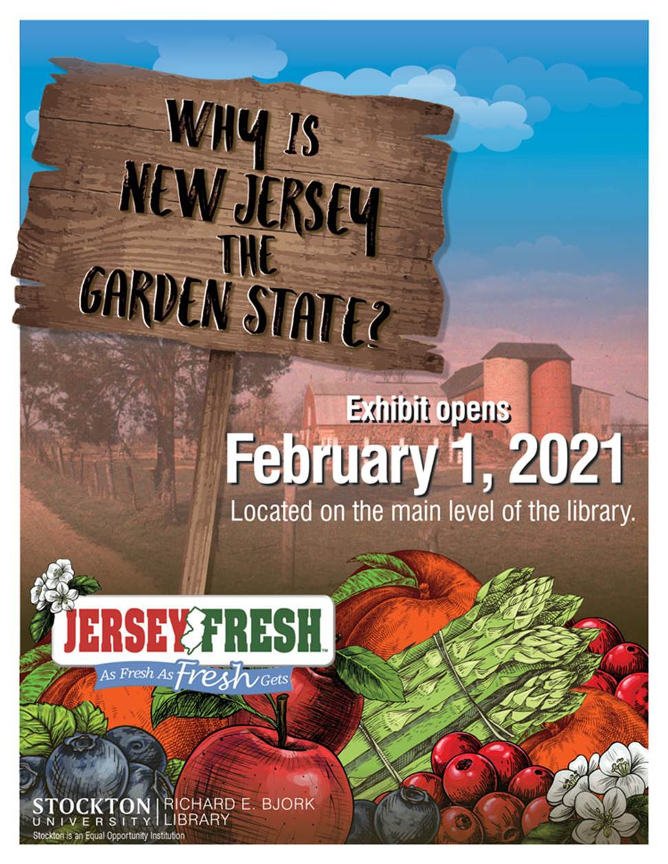 Exhibit poster with farm, sign, and fruits and veg