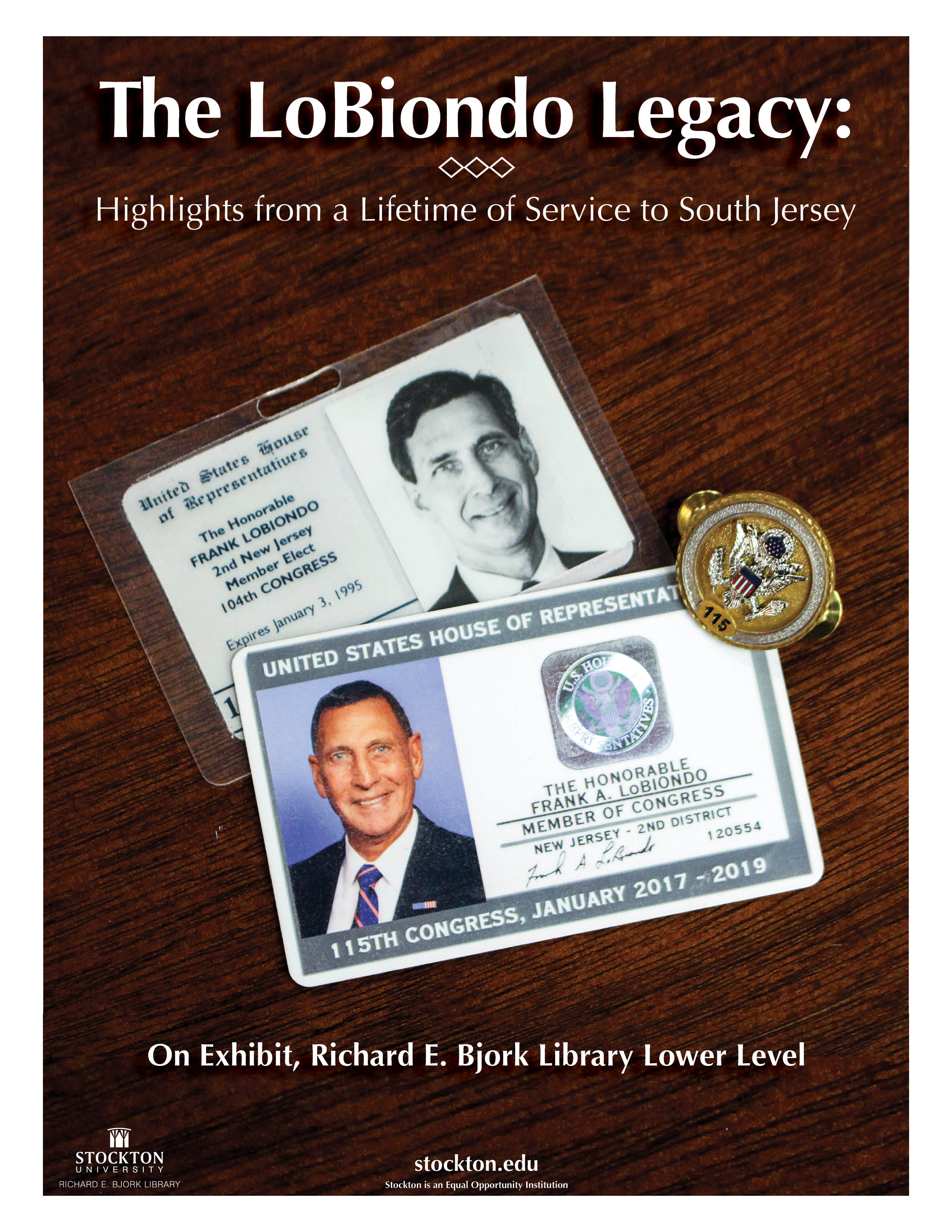 Poster with two photo identification cards for Congressman LoBiondo, one black and white and one color