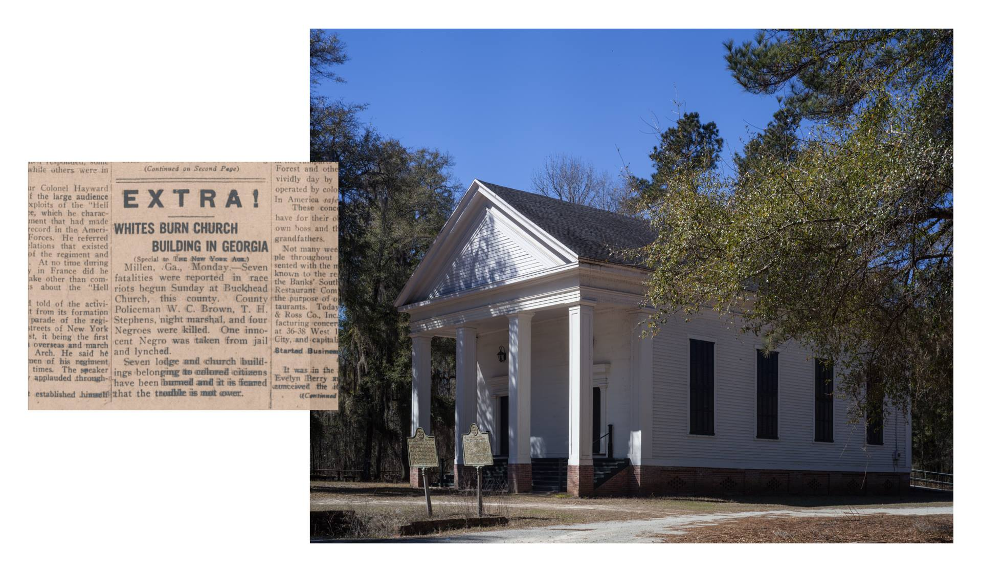 Image of white church building with newspaper clipping titled