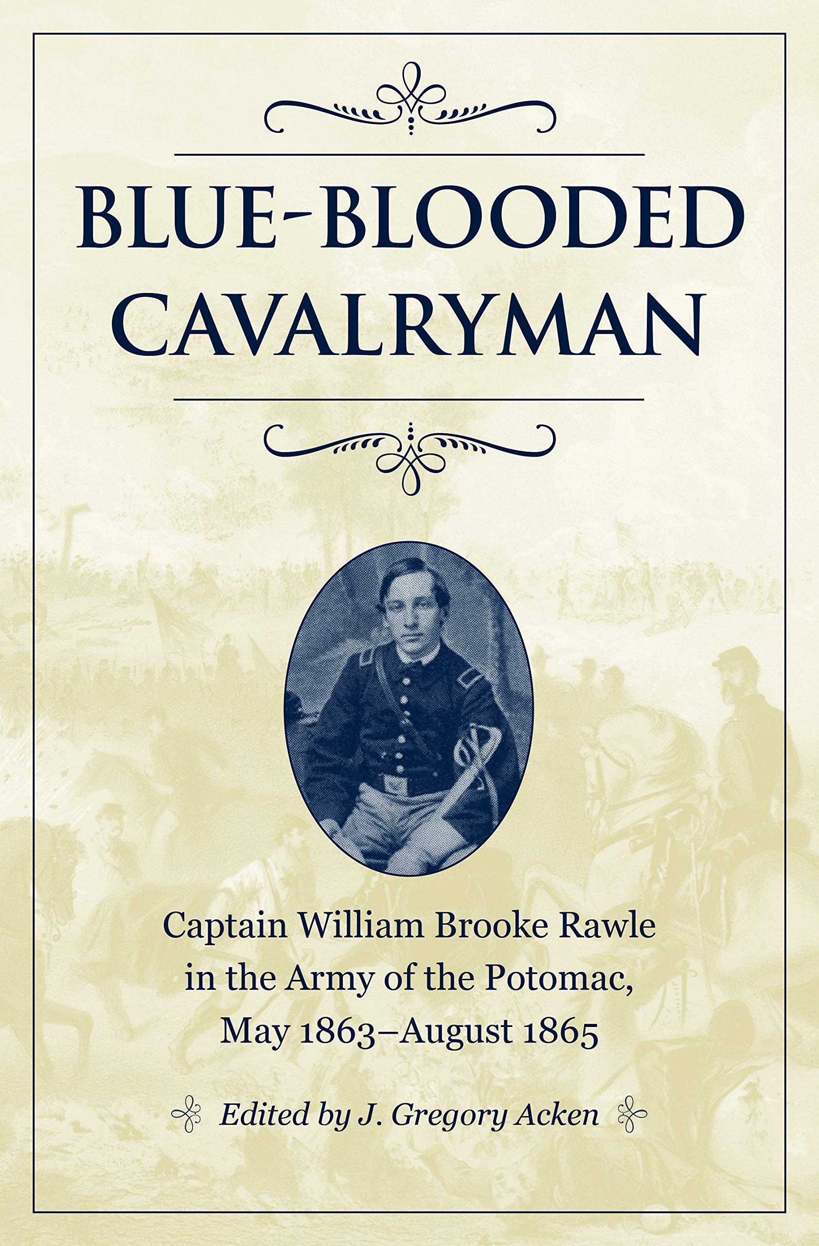 book cover art showing title and small portrait of soldier seated