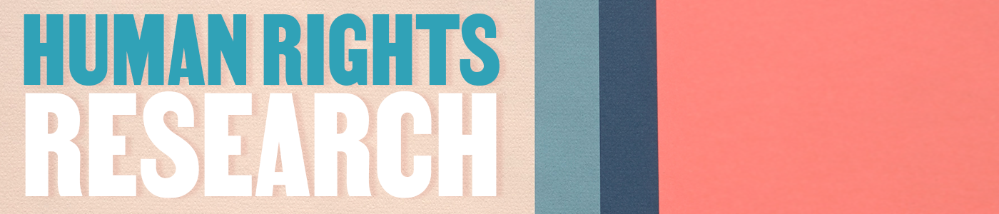 Human rights research banner, block colors
