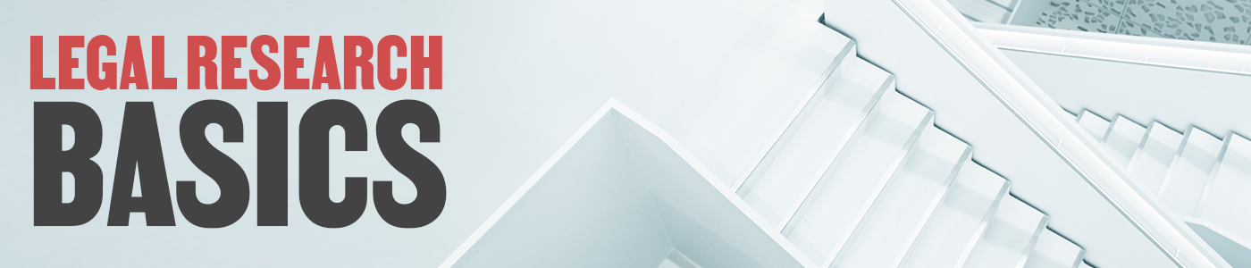 legal research basics banner with repeating staircase