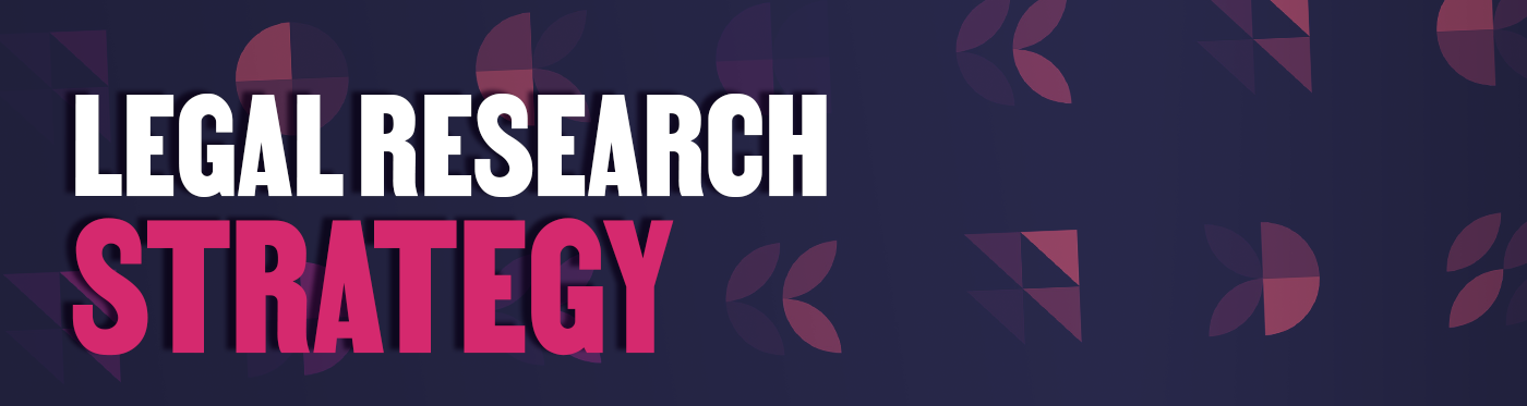 purple and pink legal research strategy banner with pink leaf shapes