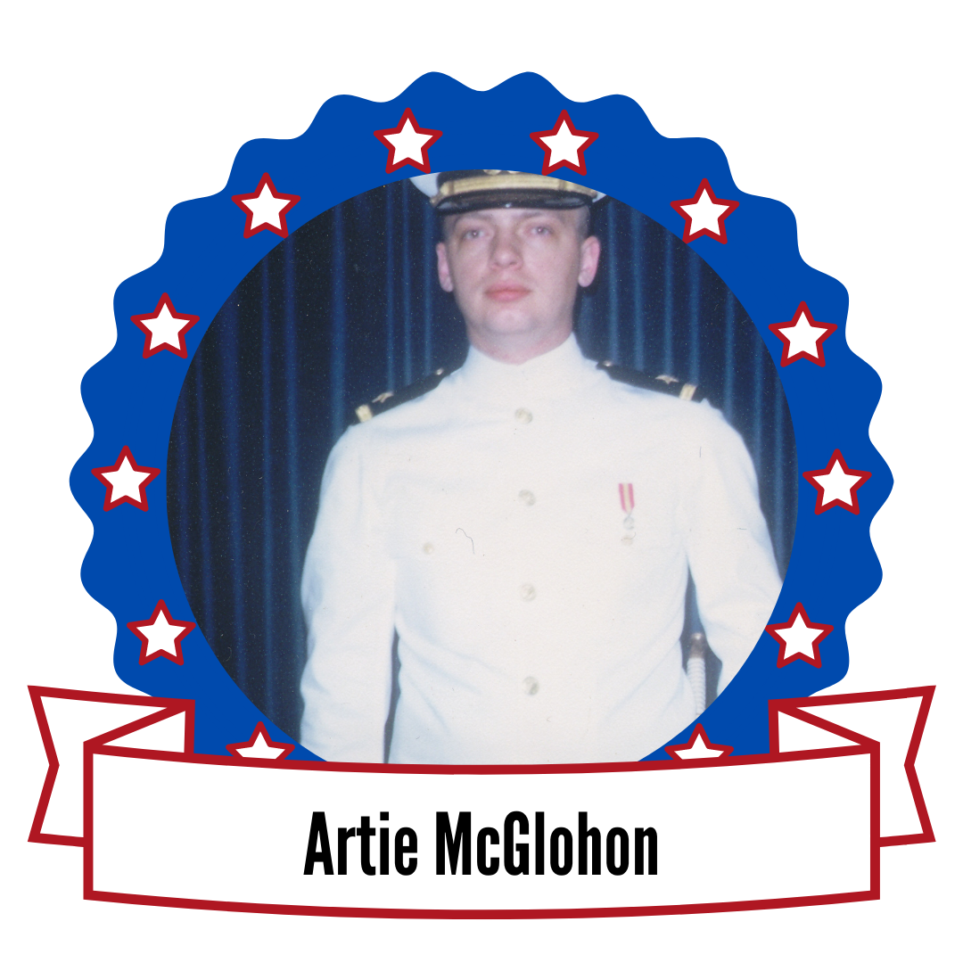 Photo of Artie McGlohon surrounded by stars