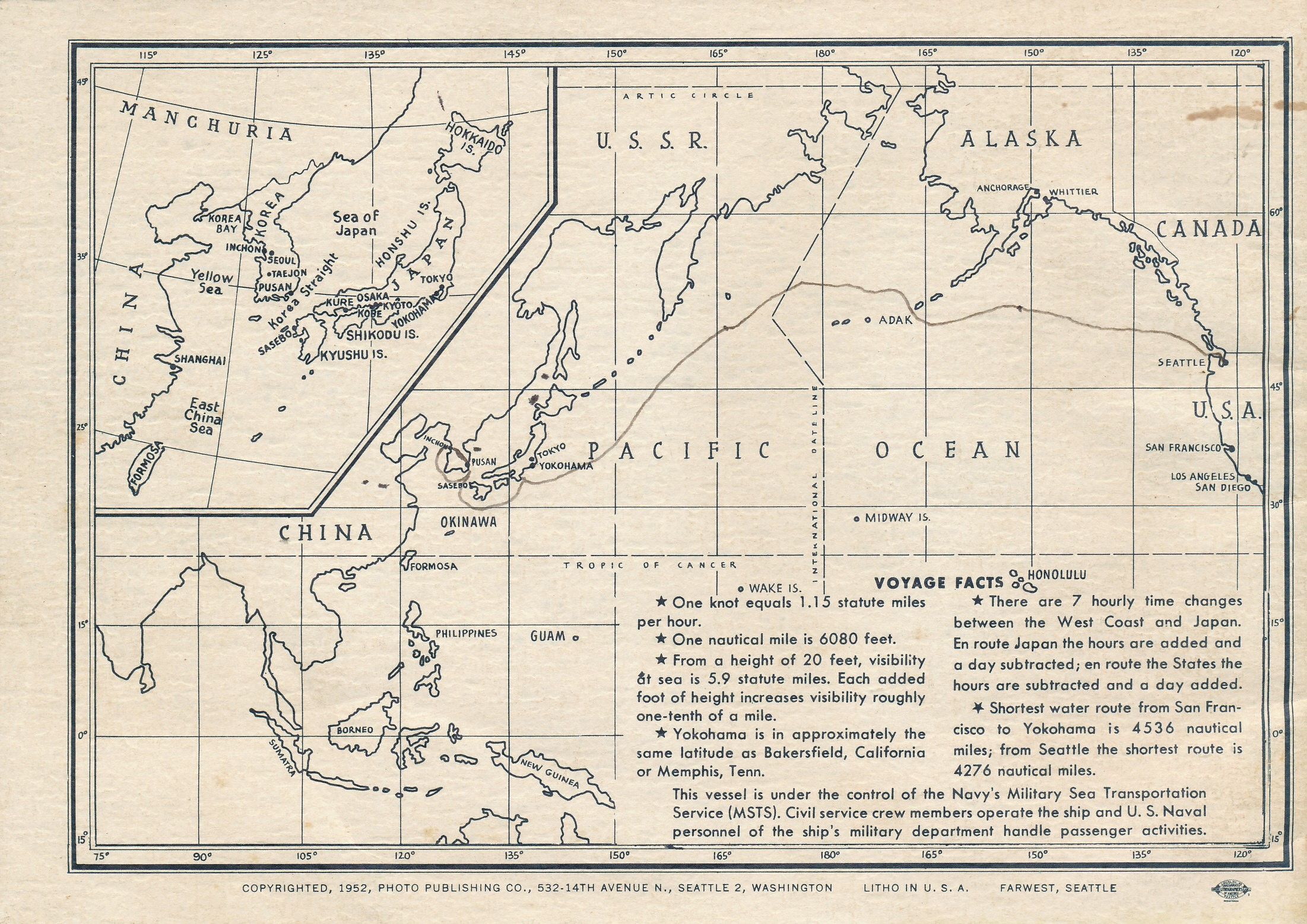 back of booklet with map of Pacific Ocean