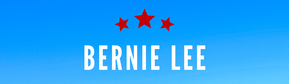 bernie lee's name on blue background with read stars