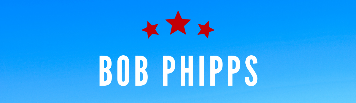 Bob Phipps's name on a blue background with red stars