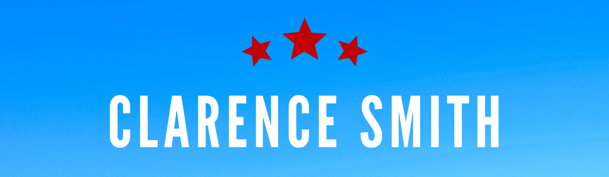 Clarence Smith's name on a blue background with red stars above