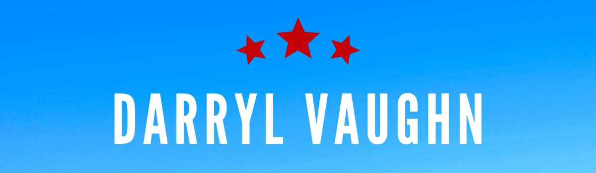 Darryl Vaughn's name on a blue background with red stars