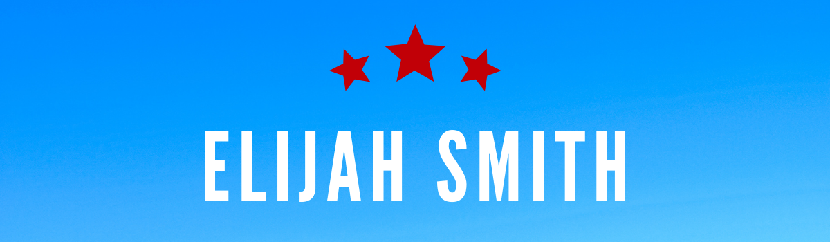 Elijah Smith's name on a blue background with red stars