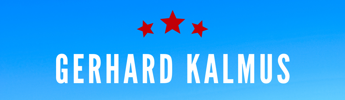 Gerhard Kalmus's name on a blue background with three red stars above