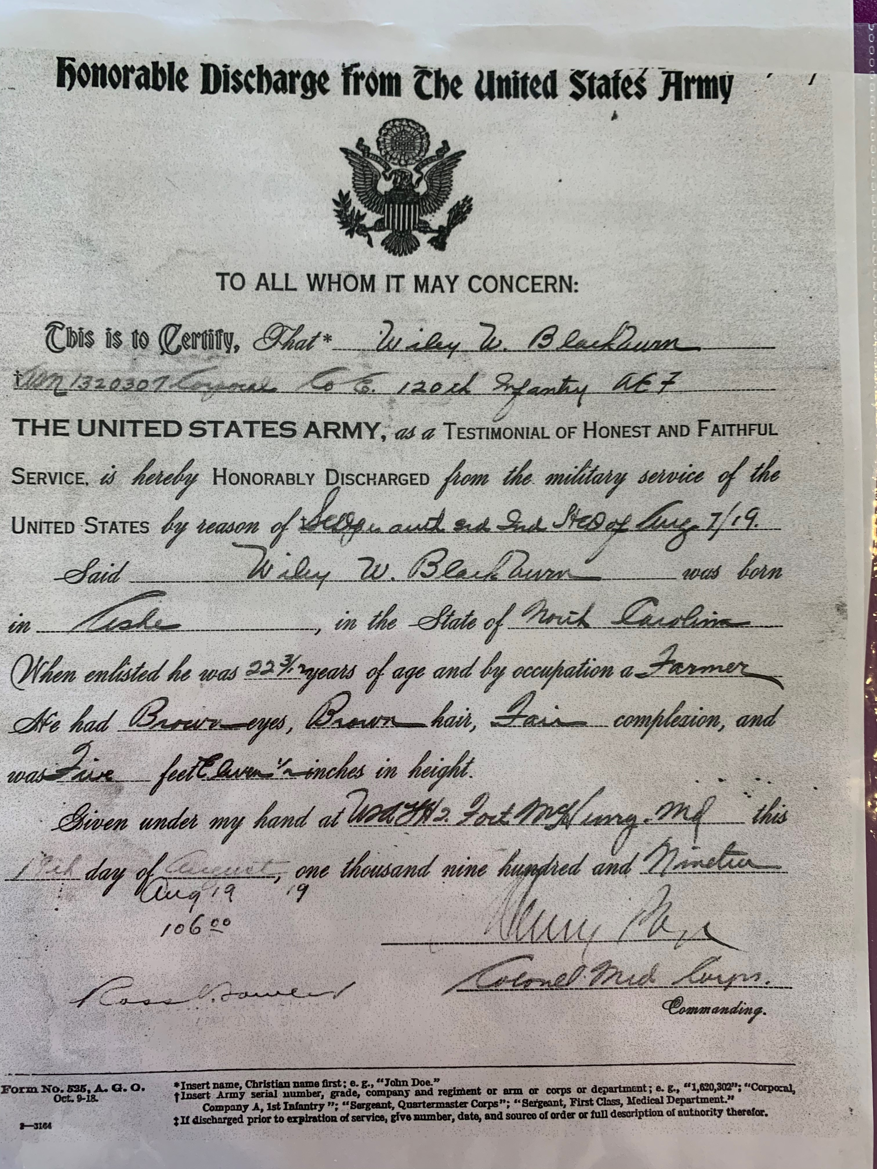 Webb's honorable discharge papers
