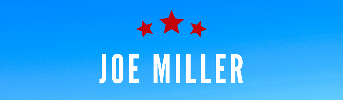 Joe Miller's name on blue background with red stars above