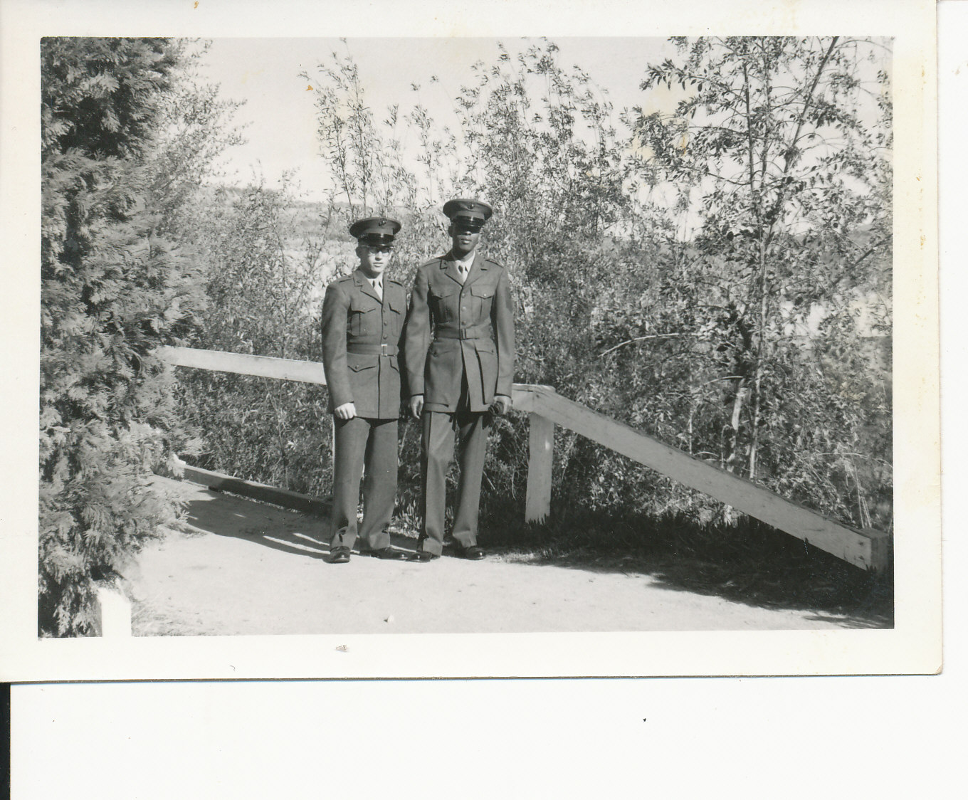 two soldiers on a wooded pathway