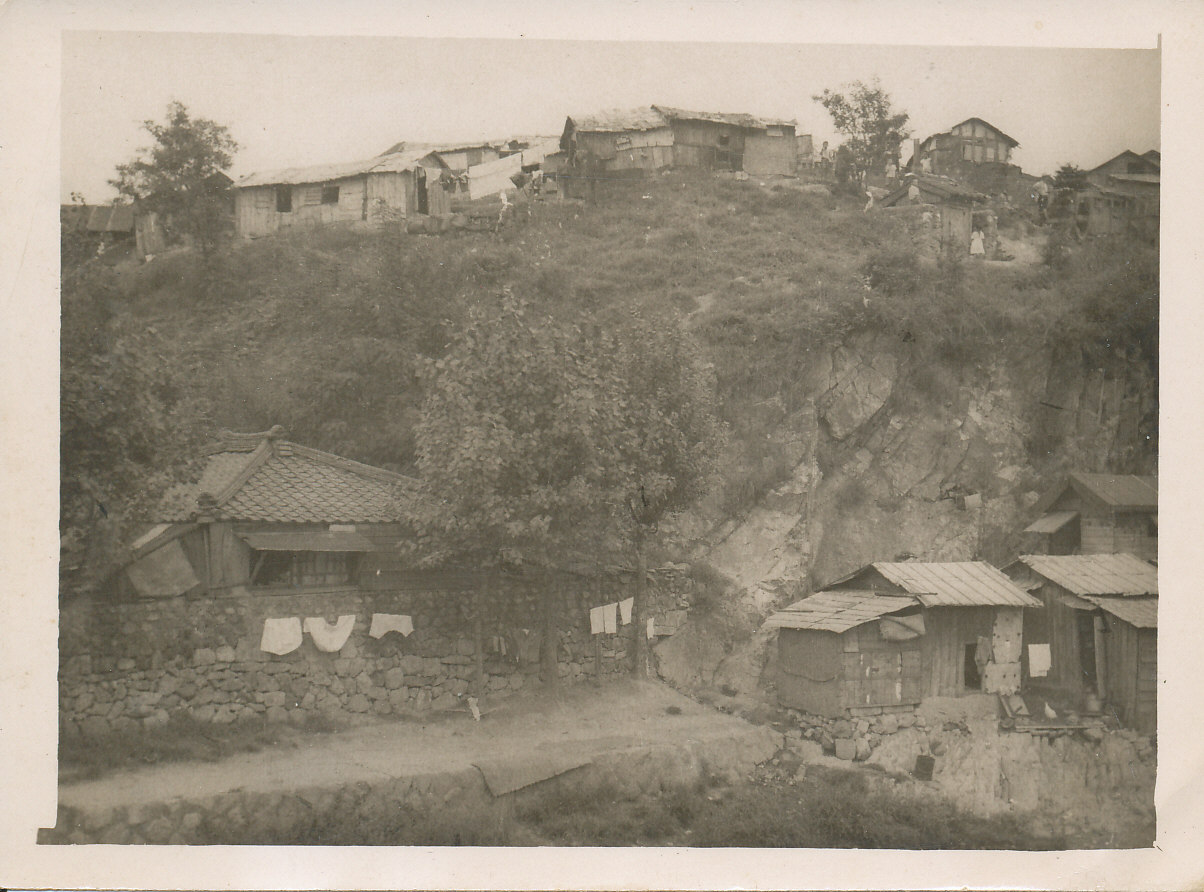 Black and white image of village