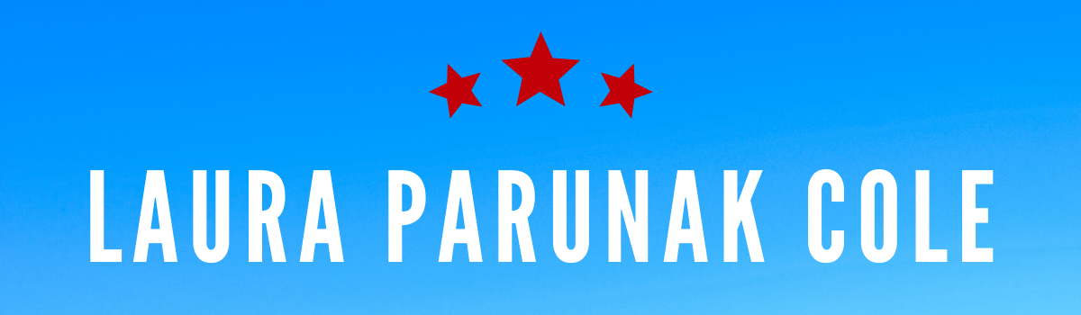 Laura Parunak Cole's name on a blue background with three red stars above