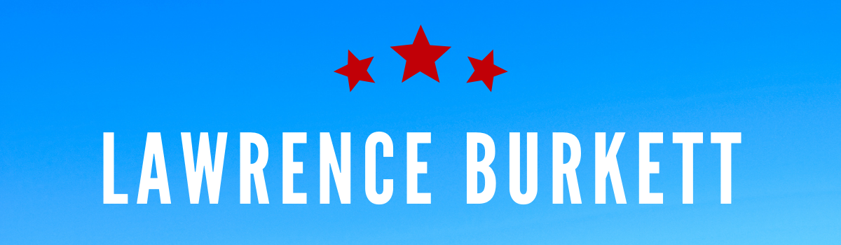 Lawrence Burkett's name on blue background with red stars above