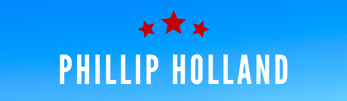 Phillip Hollan'ds name on blue background with three red stars above