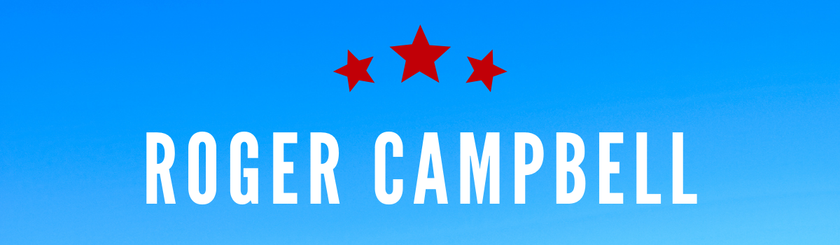 Roger Campbell's name on blue background with red stars above