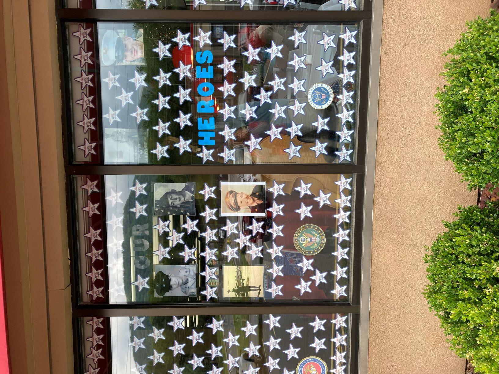Paper stars in window of local Hardee's