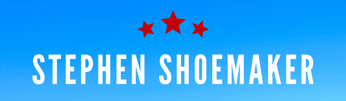 Stephen Shoemaker's name on a blue background with red stars
