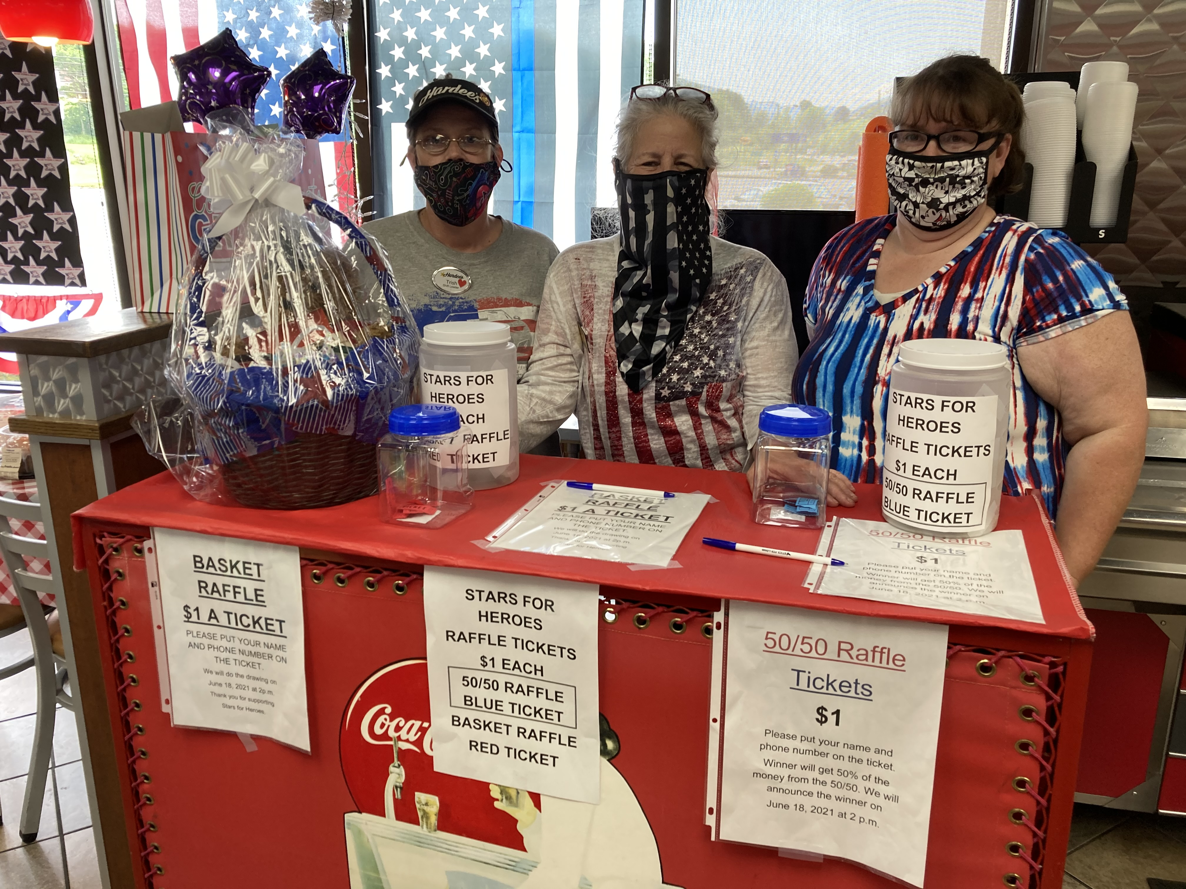 Donation table at Hardee's
