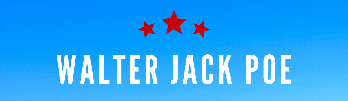 Walter Jack Poe's name on a blue background with red stars