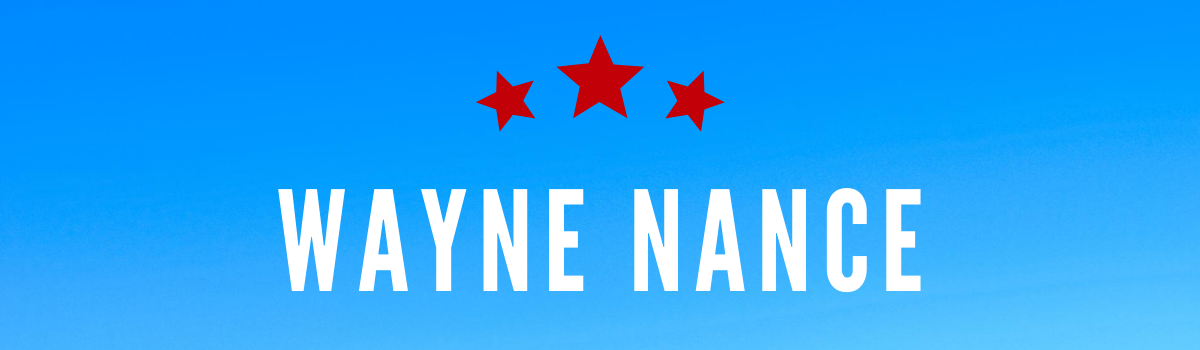 Wayne Nance's name on a blue background with red stars