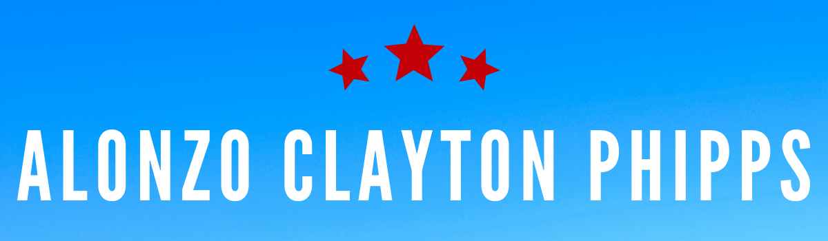 Alonzo Clayton Phipps's name on blue background with whit stars above