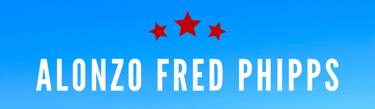 Alonzo Fred Phipps's name on blue background with red stars above