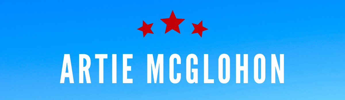 Artie McGlohon's name on a blue background with red stars.