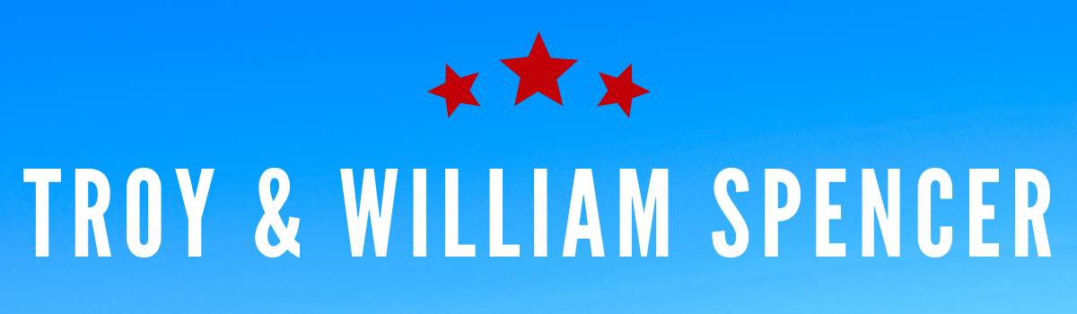 Troy and William Spencer's names on a blue background with red stars