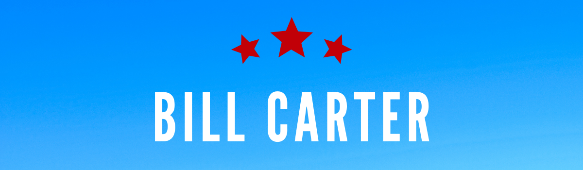 Bill Carter's name on a blue background with red stars above