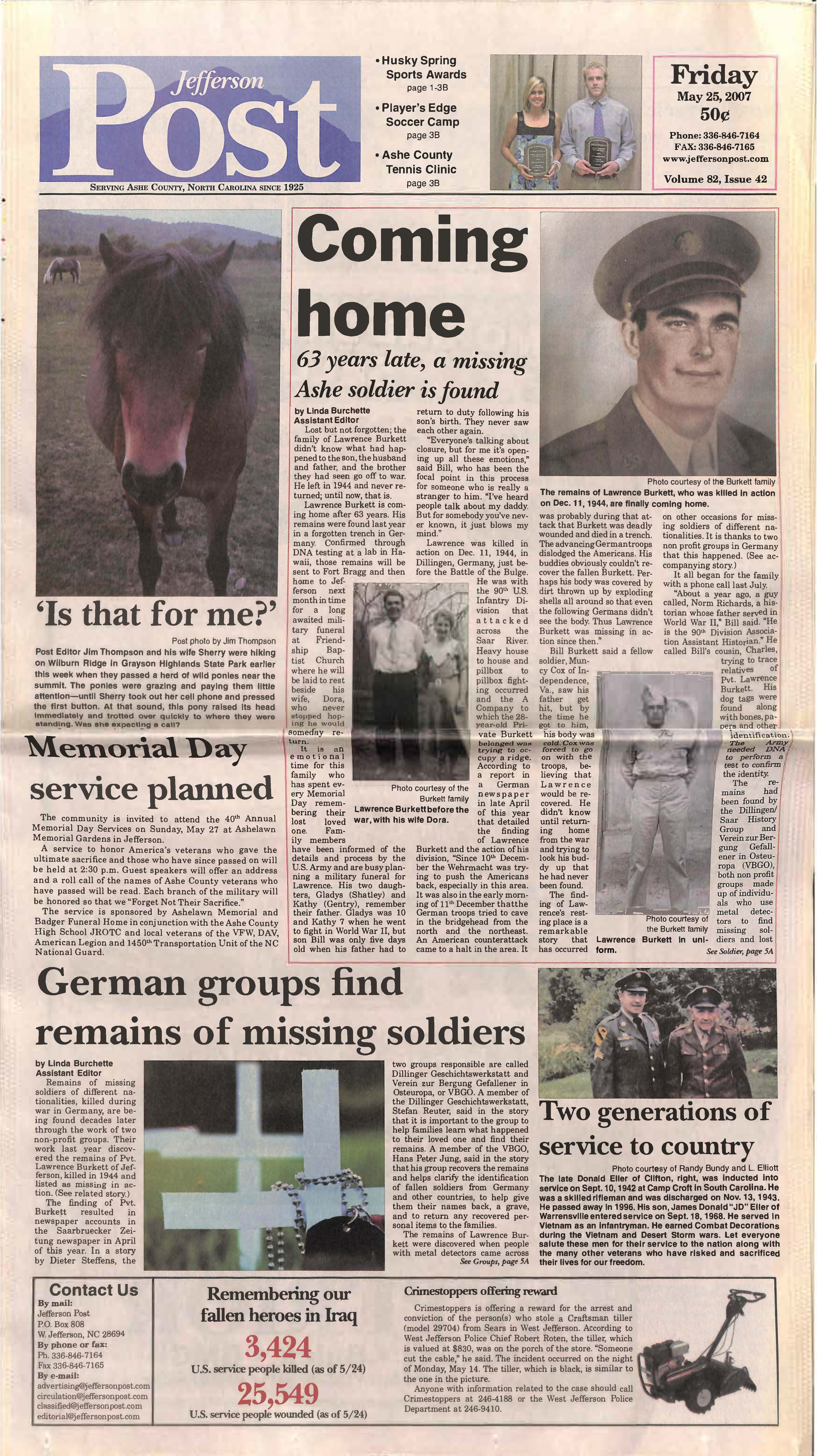 color image of front of Jefferson Post featuring story about Lawrence Burkett