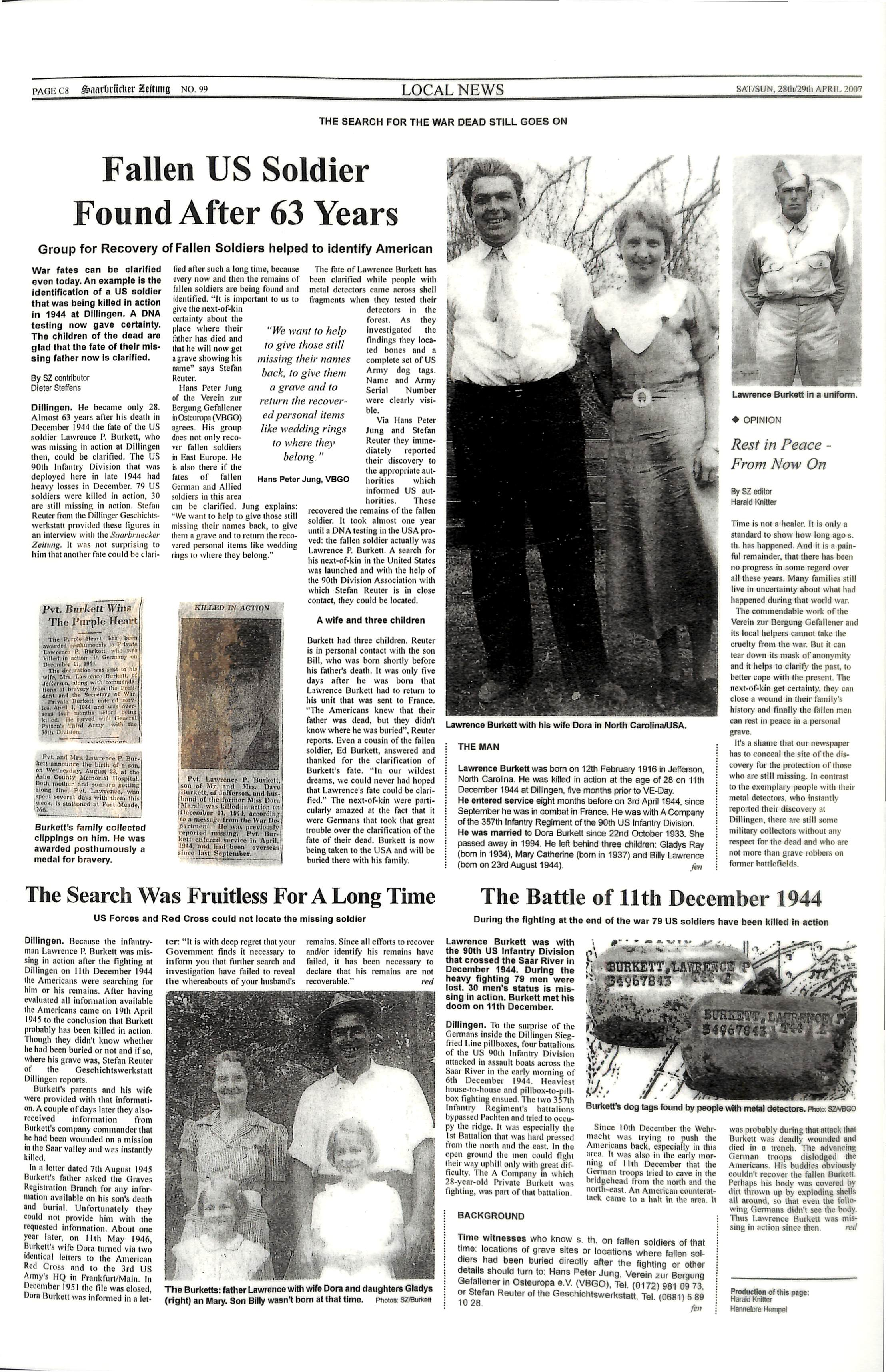 black and white image of newspaper stories and photos