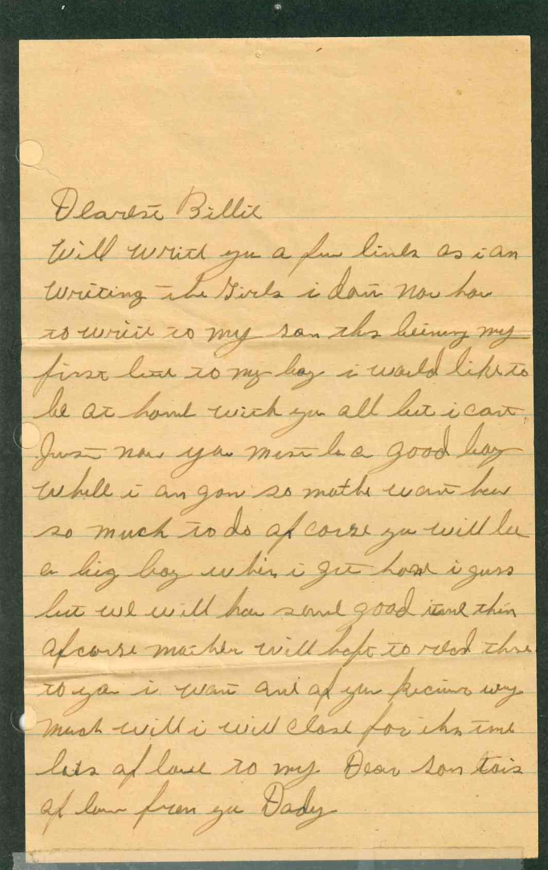 color photo of handwritten note