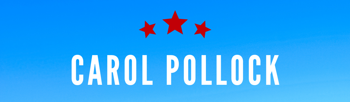 Carol Pollock's name on a blue background with red stars