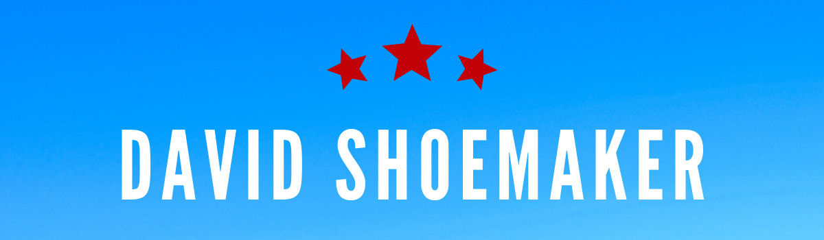 David Shoemaker's name on a blue background with red stars