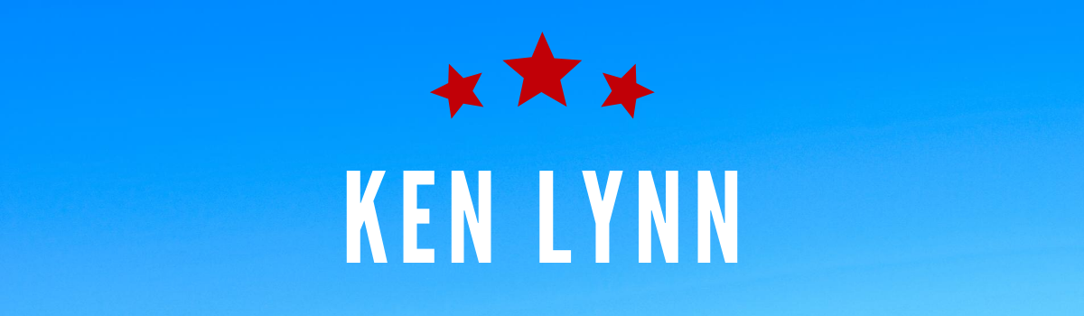 Ken Lynn's name on blue background with red stars
