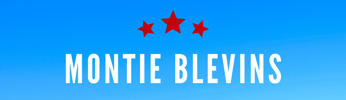 Montie Blevins's name on a blue background with three red stars above