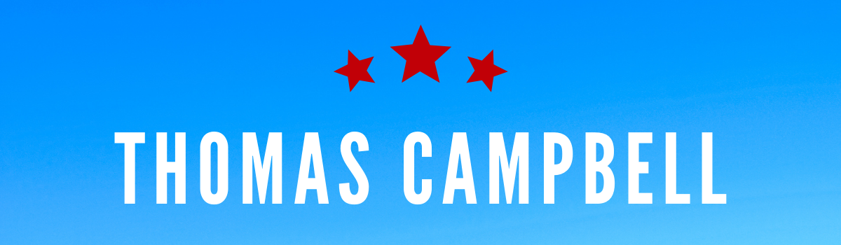 Thomas Campbell's name on blue background with red stars above
