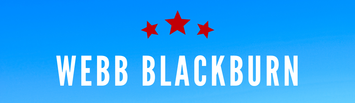 Webb Blackburn's name on blue background with three red stars above