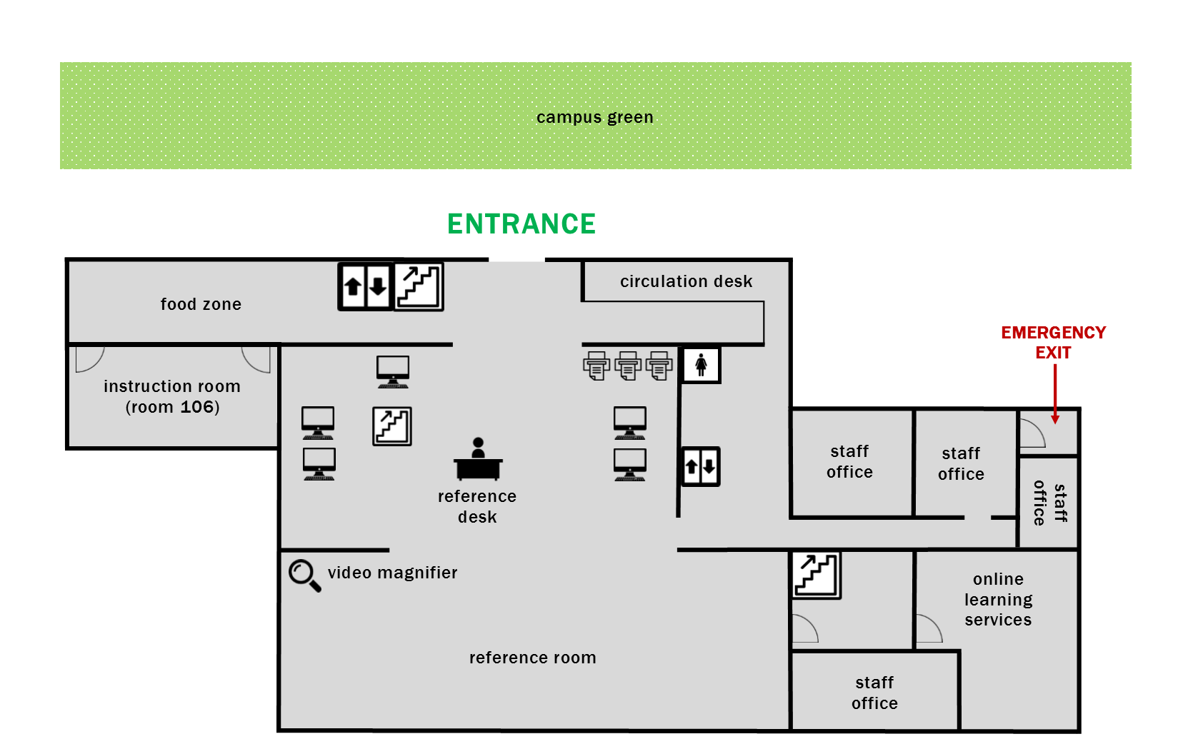 first floor layout map indicating the location of entrance/exit, elevators, stairwells, and restrooms.
