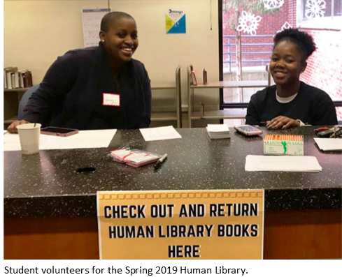 Photograph of two student volunteers for the Spring 2019 Human Library.