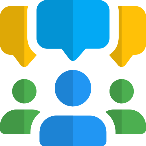 communication icon, includes light bulb, speech boxes, and a cog