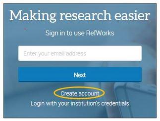 RefWorks Create Account Image